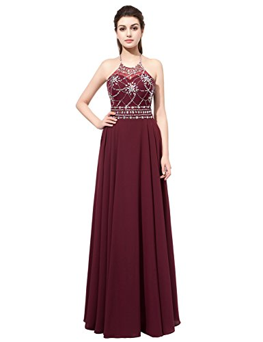 Belle House Women's Long Chiffon Prom Dresses 2019 Sexy Backless Halter Maroon Ball -