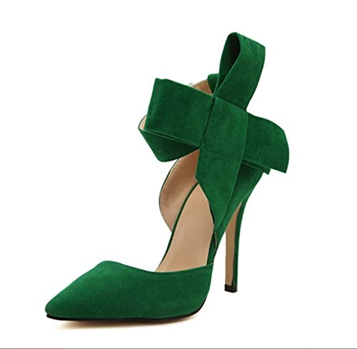 Shoes Liangxie Large Verde Hollow Lady Ultimate Butterfly A Hechas Mano High Peeps Bride Tip Heels Heelsxiaoqi Suede Sandalias fwXAqf