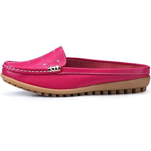 Slip Mule On Flat Leather Women's Rose Uown Casual Shoes OqTng