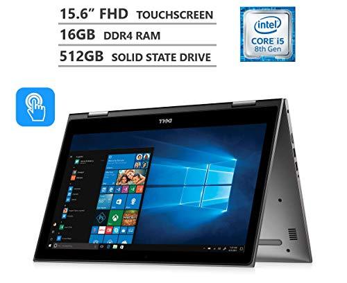 Dell Inspiron 15 5000 2-in-1 Laptop, 15.6″ Full HD IPS Touchscreen, Intel Core i5 Processor, 16GB RAM, 512GB SSD, Backlit Keyboard, Wireless-AC, Bluetooth, Windows 10 (Intel Core i5-8250U Processor)
