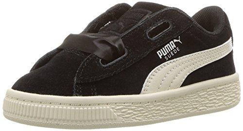 PUMA Girls' Suede Heart Jewel Kids Sneaker, Black-Whisper White, 9 M US -