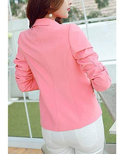 Lunga Button Business Blazer Giacca Tasche Bavero Colore Da Manica Primaverile Cappotto Grazioso Donna Fit Pink Autunno Giacche Tailleur Slim Con Puro Ragazza TEO4Pwqx