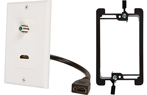 Buyer's Point HDMI Pigtail 3GHz Coax Wall Plate with Single Gang Low Voltage Mounting Bracket Device