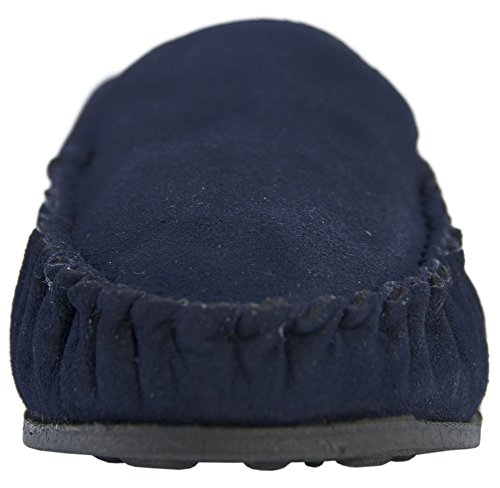 Lambland Mens Sheepskin Suede Moccasin - Loafer Slippers with Fleece Lining and Non Slip Sole Navy qXPrp