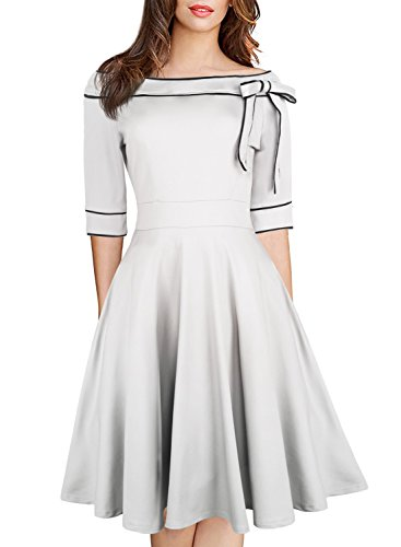 White Church Suit Summer Dresses Pockets Off Shoulder Retro Prime Wardrobe Women Clothing 1940s 50s Style Vintage Formal Cocktail Rockabilly Skirt 188 White M