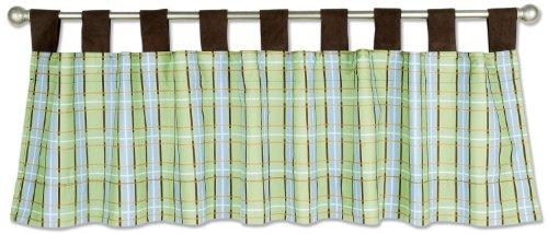 Trend Lab Baby Barnyard Window Curtain Valance, Green/Blue/Plaid