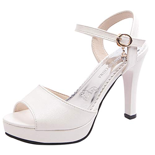 Heeled Sandals for Women Ankle Strap,FAPIZI Lady Round Toe Shoes One Word Buckle High Heel Non-Slip Sandals White