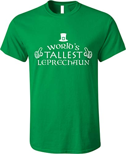 GunShowTees World's Tallest Leprechaun Funny St. Patrick's Day Irish Shirt, Large, Irish Green (Funny Irish Leprechaun)