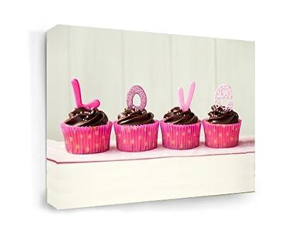 Amazon Com Framed Canvas Print Love Cupcakes 16 Width X 12