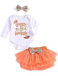 SUPEYA Toddler Girls Gobble Til You Wobble Romper Tops+Tulle Skirt+Headbands 3Pcs Set
