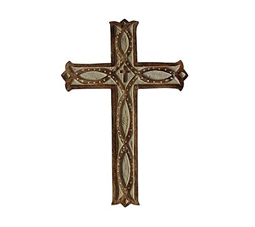 SouvNear Big Sale Decorative Wall Cross -14 Inches Wooden French Handmade Religious Altar Home Living Room Home Decor Accessory -