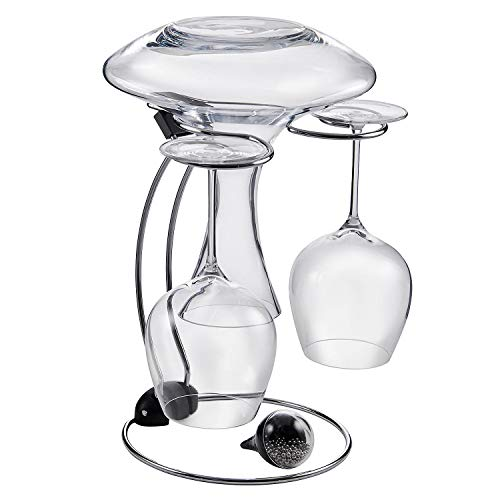 (Wine Enthusiast Folding Glassware Drying Stand & Decanter Cleaning Beads (2 Piece Set), Holds One Wine Decanter and 2 Wine Glasses)