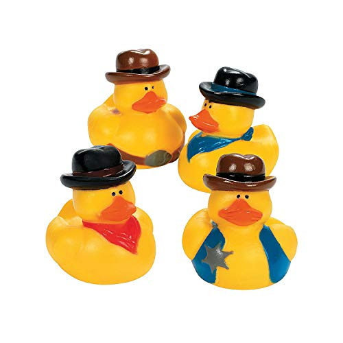 Fun Express - Cowboy Rubber Duckies - Toys - Character Toys - Rubber Duckies - 12 Pieces ()