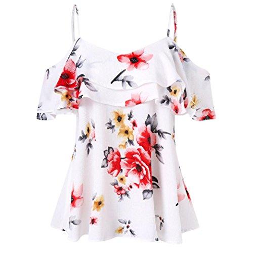 - Botrong Women Floral Printing Shirt Sleeveless Vest Tank Top Blouse (L, White)