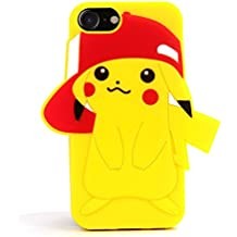 3D Pokemon Pikachu Go Silicone Back Case for Apple iPhone 7 8 iPhone7 iPhone8 Cute and Protective Shockproof Kids Teens Girls Boys Son Bright Yellow Color Ultra Thick Drop Resistant Pocket Monster