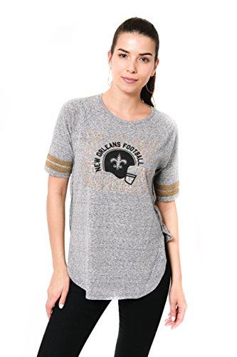 Icer Brands NFL New Orleans Saints Women's T-Shirt Vintage Stripe Soft Modal Tee Shirt, Large, Gray