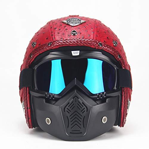 LCC Moto Cascos Retro Hechos A Mano Personalidad Retro Harley Casco Moto Coche 3/4 Cuero Casco Medio Casco Hombres Y Mujeres...