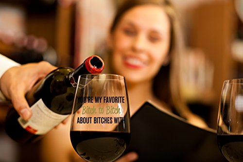 You're My Favorite Bitch To Bitch About Bitches With | Funny BFF Birthday Gift Idea | Girls Bachelorette Party Presents | Best Friend Gift For Women | 15 oz Dishwasher Safe Stemless Wine Glass by Gelid (Image #3)