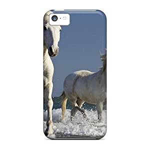 WilliamBain Case Cover Protector Specially Made For Iphone 5c Camargue Horses Running In The Surf