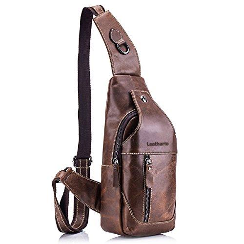 Leathario bolso bolsa mochila de pecho piel cuero para hombres con cuero compuesto para diario o trabajo. Marrón