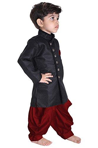 JBN Creation Boys' Black Cotton Blend Sherwani Style Kurta Set(VASBSW120MA_30) by VASTRAMAY (Image #1)