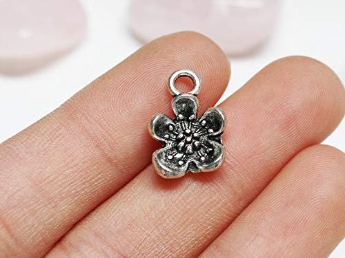Jewelry Making Made Easy Set of 5, Cherry Blossom Charm, Sakura Charm, Silver Sakura, Cute Flower Charm, Spring Charm, Antique Silver, 16mm x 11mm