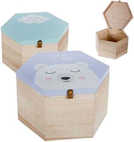 Dcasa - Juego de 2 cajas madera diseño Infantil Nube y oso!: Amazon.es: Hogar