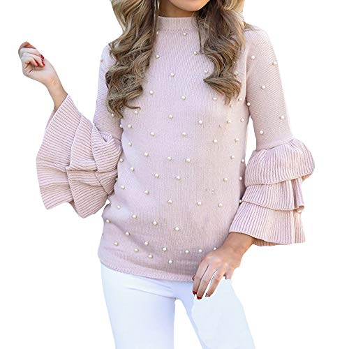 VIASA Plus Size Womens Sexy Casuual Long Sleeve Fashion Beading Knitting Tops Ruffle Sweater Blouse (S, Pink)