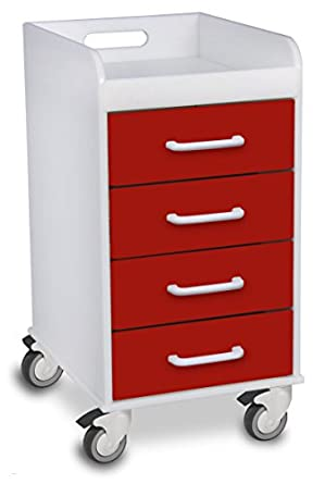 "TrippNT 51081 Polyethylene Compact Locking Cart, 14"" Width x 27"" Height x 19"" Depth, 4 Drawers, Cherry Red"