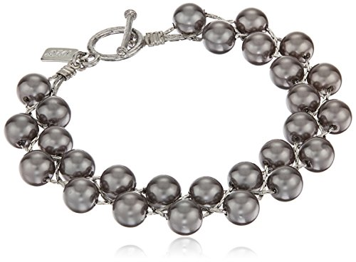 1928 Jewelry Silver-Tone Grey Simulated Pearl Gray Toggle Bracelet, 8