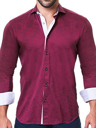 Maceoo Mens Designer Dress Shirt - Stylish & Trendy - Einstein Jersey Red - Tailored Fit (Cotton Shirt Italian Dress Collar)