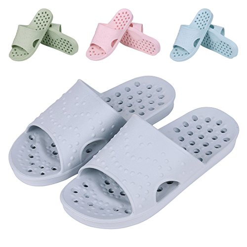 Shevalues Shower Sandal Slippers Quick Drying Bathroom Slippers Gym Slippers Soft Sole Open Toe House Slippers Gy-L - Shower Slide