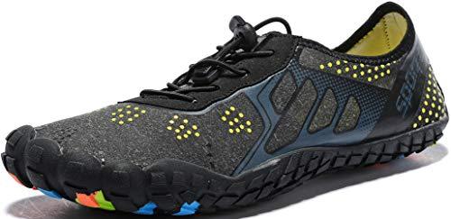 Ebu GoGo Mens Womens Water Shoes Quick Dry Barefoot for Swim Diving Surf Aqua Sports Pool Beach Walking Yoga (darkgrey3 ()