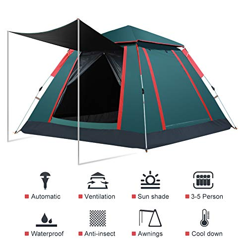 Cocoarm 3-4 Person Family Automatic Pop Up Camping Tent, Portable Anti UV Water Resistant Windproof Tents for Outdoor Sports Camping