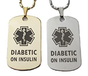 Diabetic on Insulin Diabetes Medical Alert Tag Pendant Necklace in Gold or Silver
