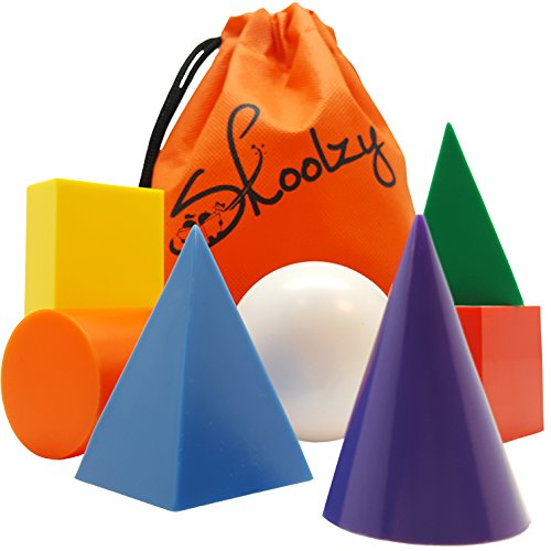 Skoolzy Geometric Shapes Montessori Toys - 7 Jumbo 3D Geometric Solids Preschool Learning Toys - Math Manipulatives Geometry Set Geo Blocks for Kids | Elementary Homeschool Supplies | Tote & eBook