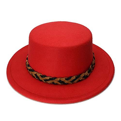 Braid Pork - Kid Child Wool Wide Brim Round Cap Pork Pie Porkpie Bowler Hat Twist Braid Leather Band (54cm/Adjust), by jdon-hats, (Color : Red, Size : 54cm)