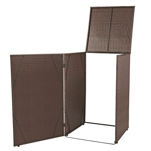 vidaXL Single Wheelie Bin Shed Poly Rattan Wicker Brown Garden Storage Cover by vidaXL
