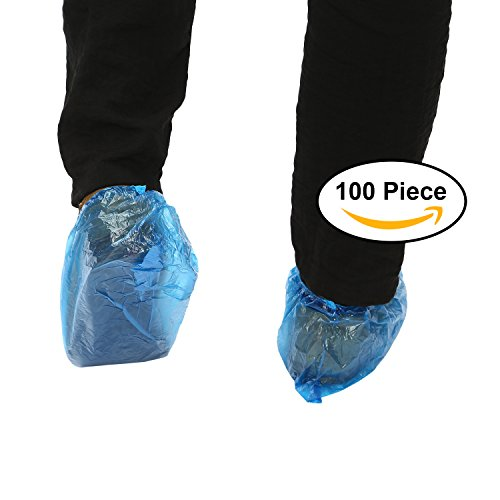 Adaman Disposable Plastic Shoe Covers, Waterproof Bottom, Thick-durable, 100 Piece, Blue