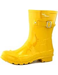 Women's Mid Calf Buckle Ankle High Hunter Rain Round Toe Rainboots