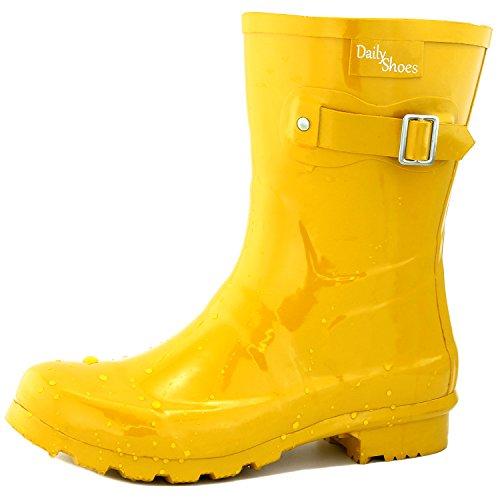 DailyShoes Women's Mid Calf Buckle Ankle High Hunter Rain Boot Round Toe Rainboots, 7