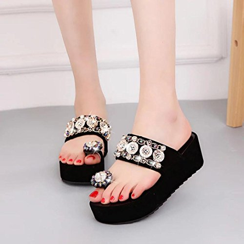 Muium Women Fashion Sandals, Ladies Crystal High Heeled Platform Flat Sandals Round Toe Casual Shoes Black