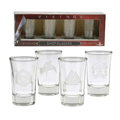 (Vikings Shot Glass Set of 4 - Glasses With The History Channel TV Show Logo Designs)