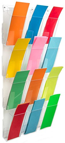 Wall Brochure Holder, 12 Full-View Pockets Hold 4