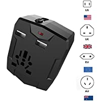 Upgrated Travel Adapter - Worldwide Universal Dual USB Travel Power Adapter with Power Bank [6000mAh] - International Plugs Converter for Europe Asia Australia Africa Travel Accessories (Black)