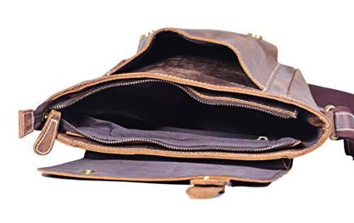 Elegant läderaxelväska, damer och män, liten axelväska, affärsväska, messengerväska, mobiltelefonfodral, bältesväska, resväska, sling-väska, brun