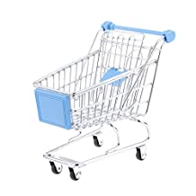 Sky Blue Mini Shopping Cart Supermarket Handcart Trolley with Seat Rolling Wheels Kids Children Pretend Play Toy Size M