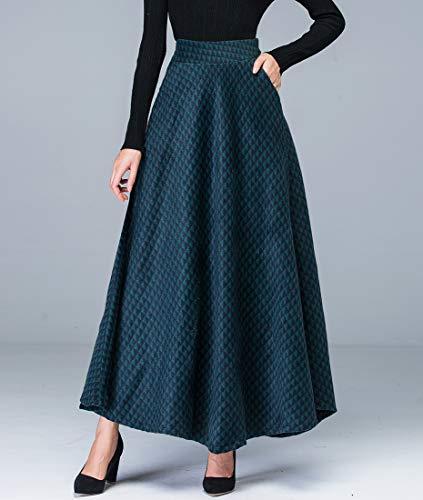 Y Moda Verde Falda La Elástica Invierno Biilyli Oscuro De Las Lana Houndstooth Elegante Otoño Larga Mujeres Alta Caliente Cintura A line 8tzqvwtH