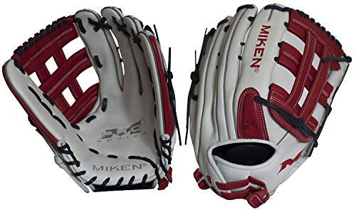 Miken Pro Series Slowpitch Softball Glove, 14 inch, White/Red, Left Hand Throw ()