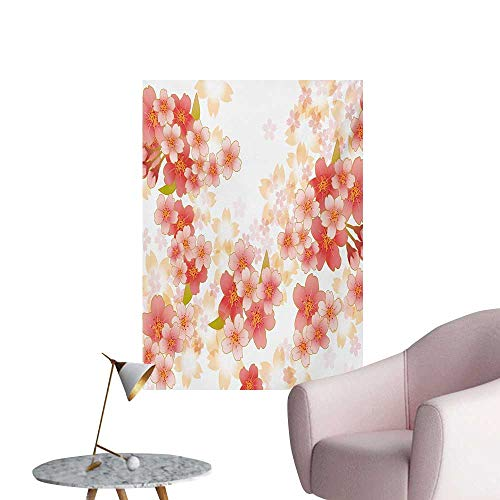 (Anzhutwelve Floral Photographic Wallpaper Japanese Sakura Flowers Cherry Blossoms in Vibrant Colors IllustrationCoral Dark Coral Yellow W32 xL36 The Office Poster)